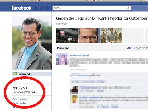 Ein Screenshot der Pro-Guttenberg-Seite auf Facebook.