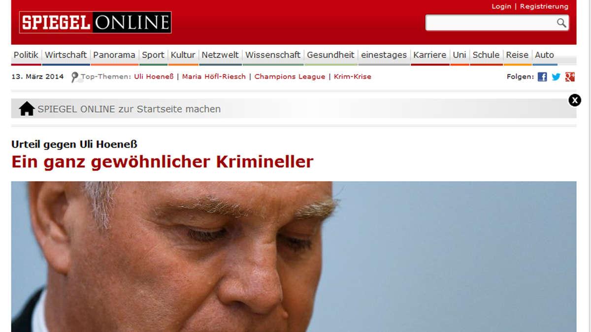 Uli hoene prozess internationale pressestimmen zum for Spiegel urteil
