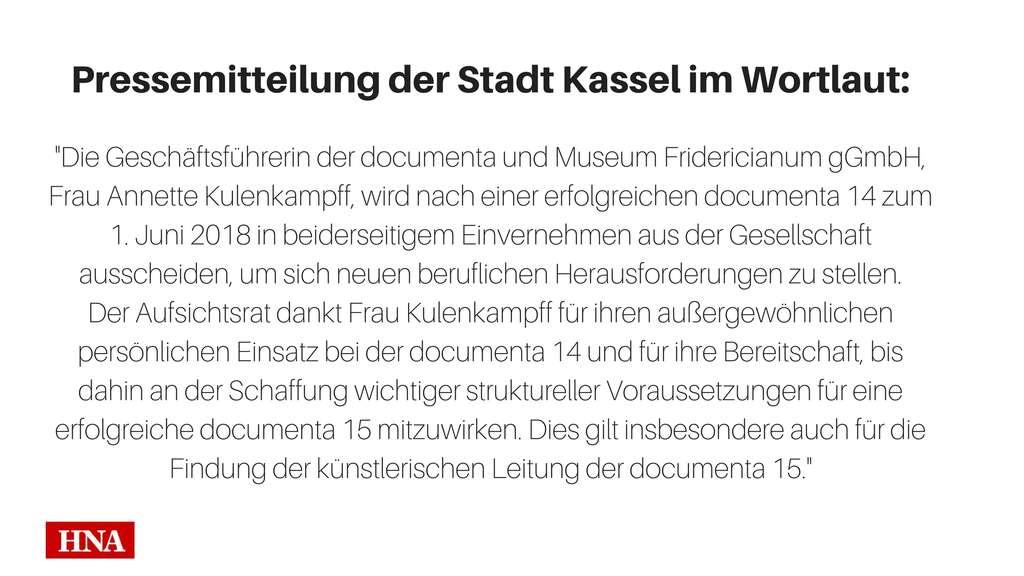 Documenta-Geschäftsführerin Annette Kulenkampff geht vorzeitig