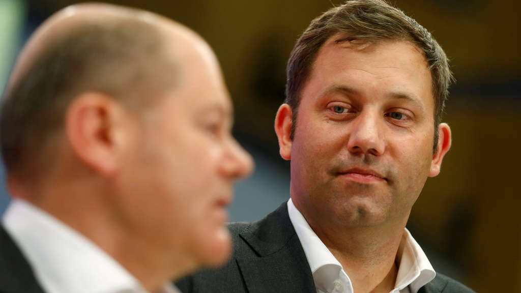 FILE PHOTO: Scholz and Klingbeil inspect the convention hall prior to the SPD's one-day party congress in Wiesbaden