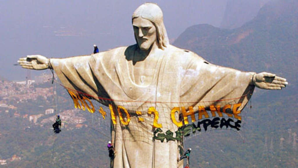 Rio De Janeiro Christus Statue Wird Renoviert Welt