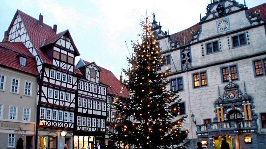 Wieder ein Weihnachtsbaum vor Mündens Rathaus | Hann. Münden