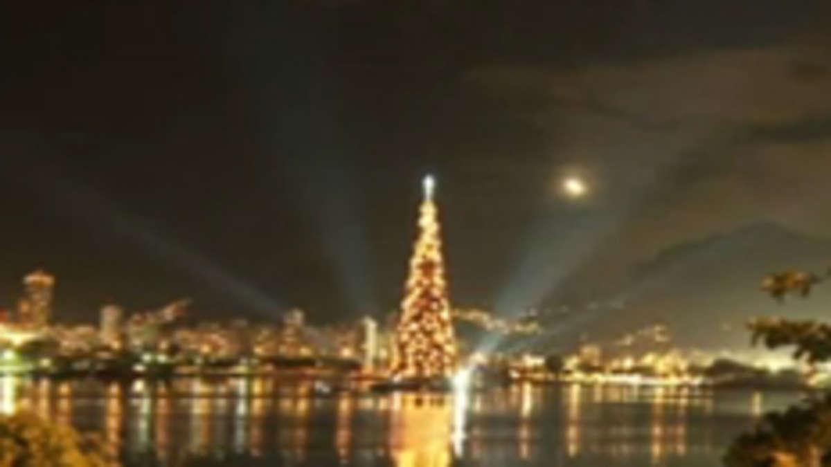 video der gr te schwimmende weihnachtsbaum der welt welt. Black Bedroom Furniture Sets. Home Design Ideas