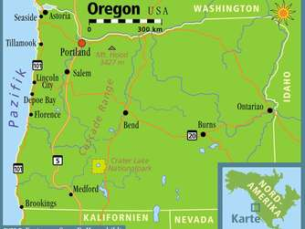 Karte USA - US-Staat Oregon
