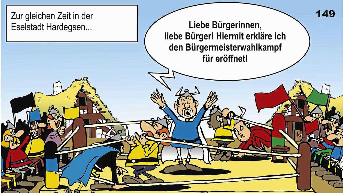 Sessel comic  Harzhorn-Comic: Wahlkampf um Chef-Sessel im Hardegser Rathaus geht ...