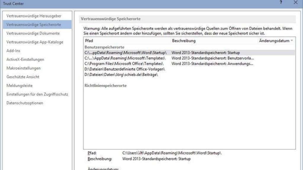Vertrauenswürdige Speicherorte In Ms Office Netzwelt