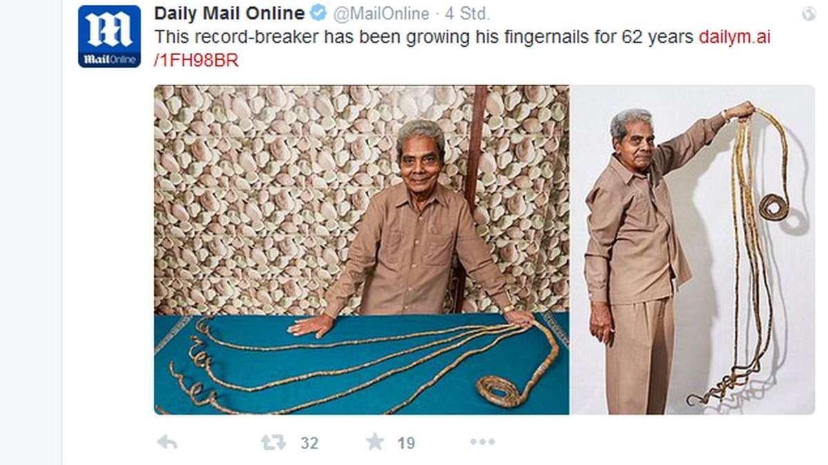 Guinness-Buch: Shridhar Chillal hat die längsten Nägel | Welt