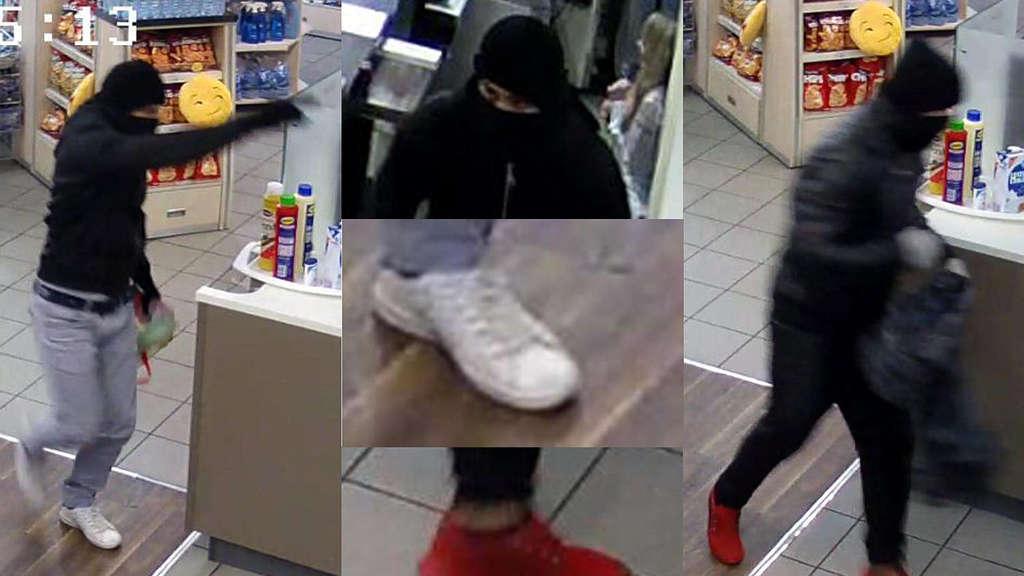 Weiße Schuhe: Einer der gesuchten Räuber. Fotos: Polizei (nh)