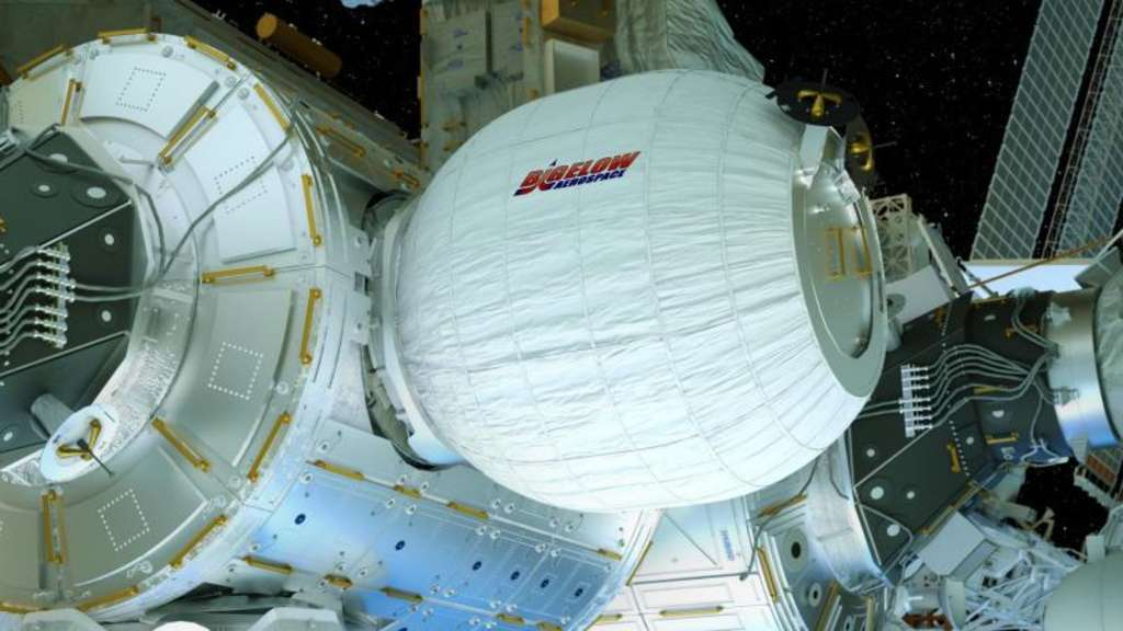 Eine computeranimierte Illustration zeigt das aufblasbare Wohnmodul - Bigelow Expandable Activity Module (BEAM) genannt - an der Internationalen Raumstation ISS. Foto: Bigelow Aerospace/NASA