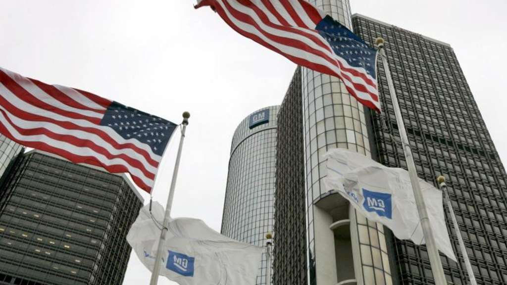 Stammsitz des größten US-Autoherstellers General Motors (GM) in Detroit. Foto: Jeff Kowalsky/Archiv