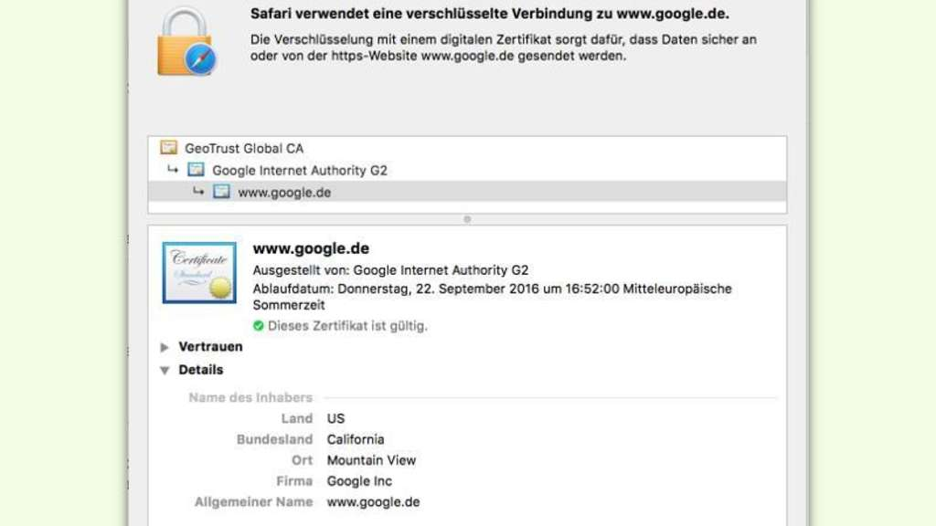 Mehr Infos über SSL-Zertifikat | Netzwelt