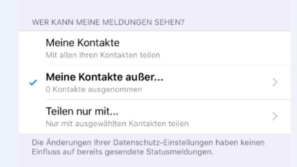 Status bei whatsapp nicht sichtbar