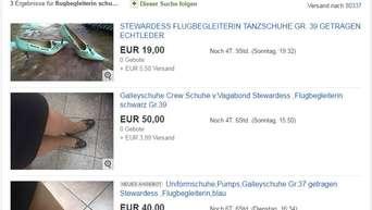 Stewardessen verkaufen getragene Schuhe bei Ebay für richtig