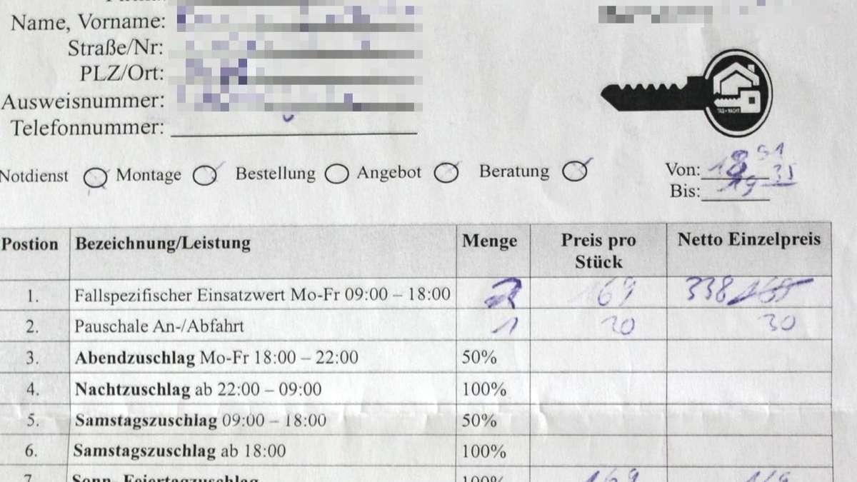SchlГјsseldienst Rechnung PrГјfen Lassen