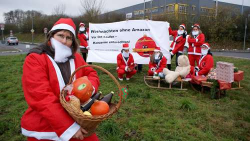 Amazon: Aktion Agrar demonstriert vor Logistikzentrum in Bad Hersfeld