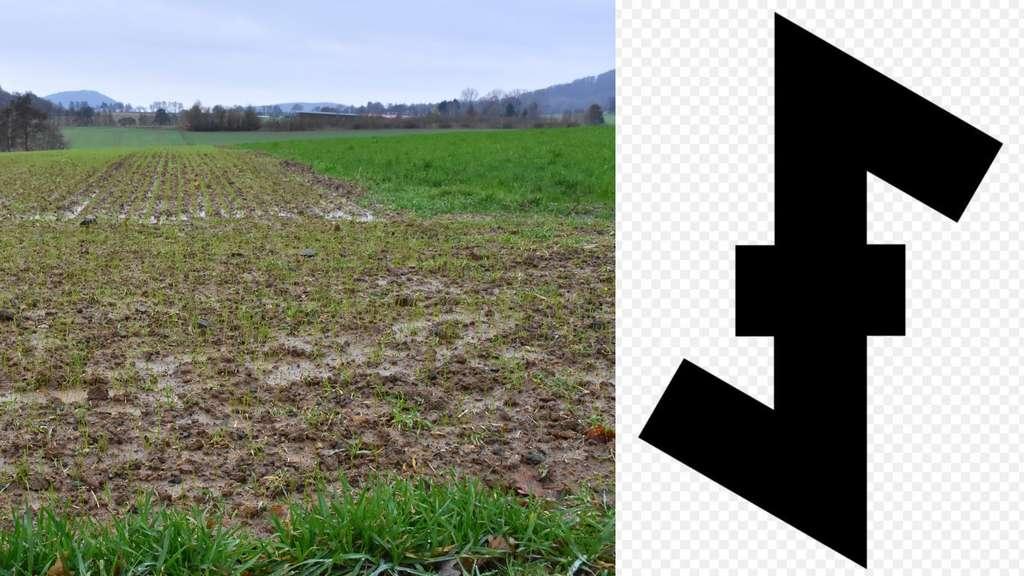 Wolfsangel Auf Feld Gezeichnet Bauer Nutzt Verbotenes Nazi Symbol
