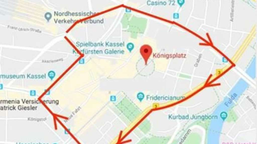 Die Route der Kasseler Fridays for Future Demonstration am 29.11