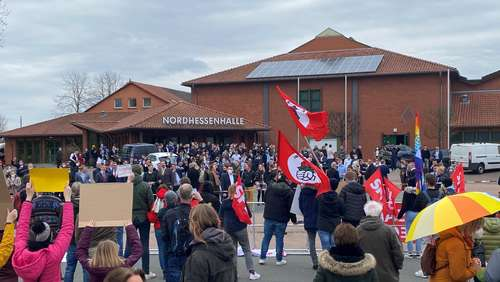 Demonstrationszug gegen Bundeskongress der Jungen Alternative in Volkmarsen